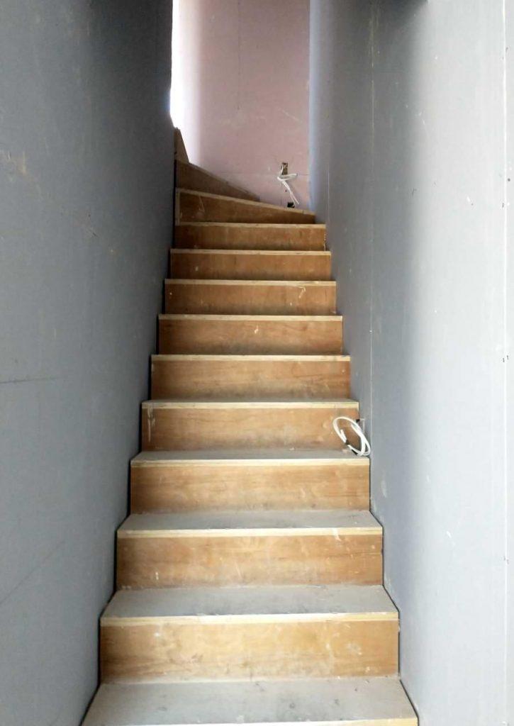 Blenheim Grove warm shell plastered stairs